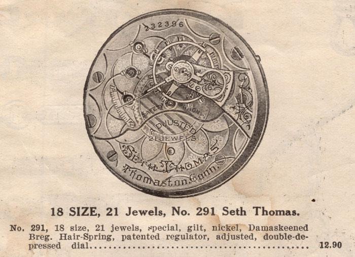 Seth Thomas Grade No. 291 N. Gamse Catalog