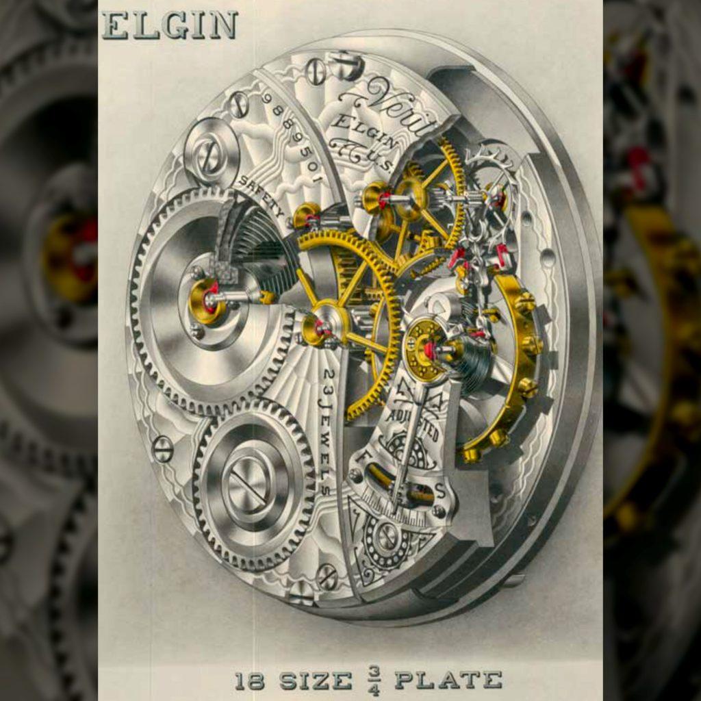 Elgin Veritas Model Watch Movement Cutaway Drawing