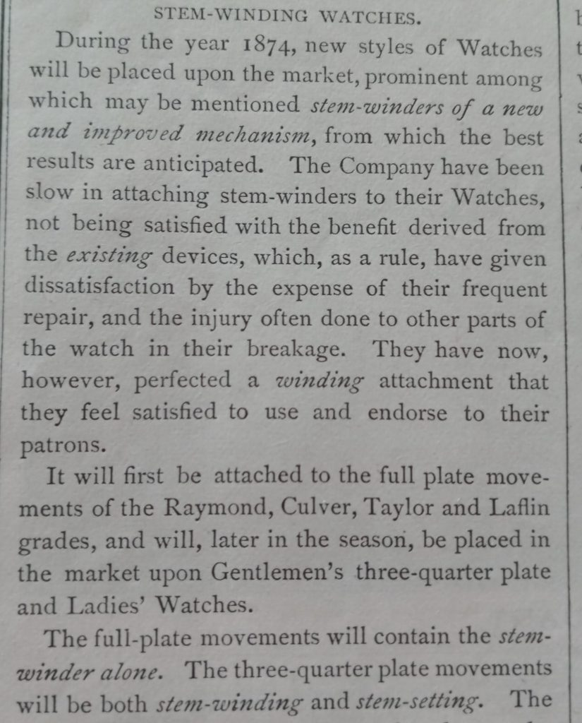 Elgin Stem-Winding Watches to be introduced in 1874 (Elgin Almanac)