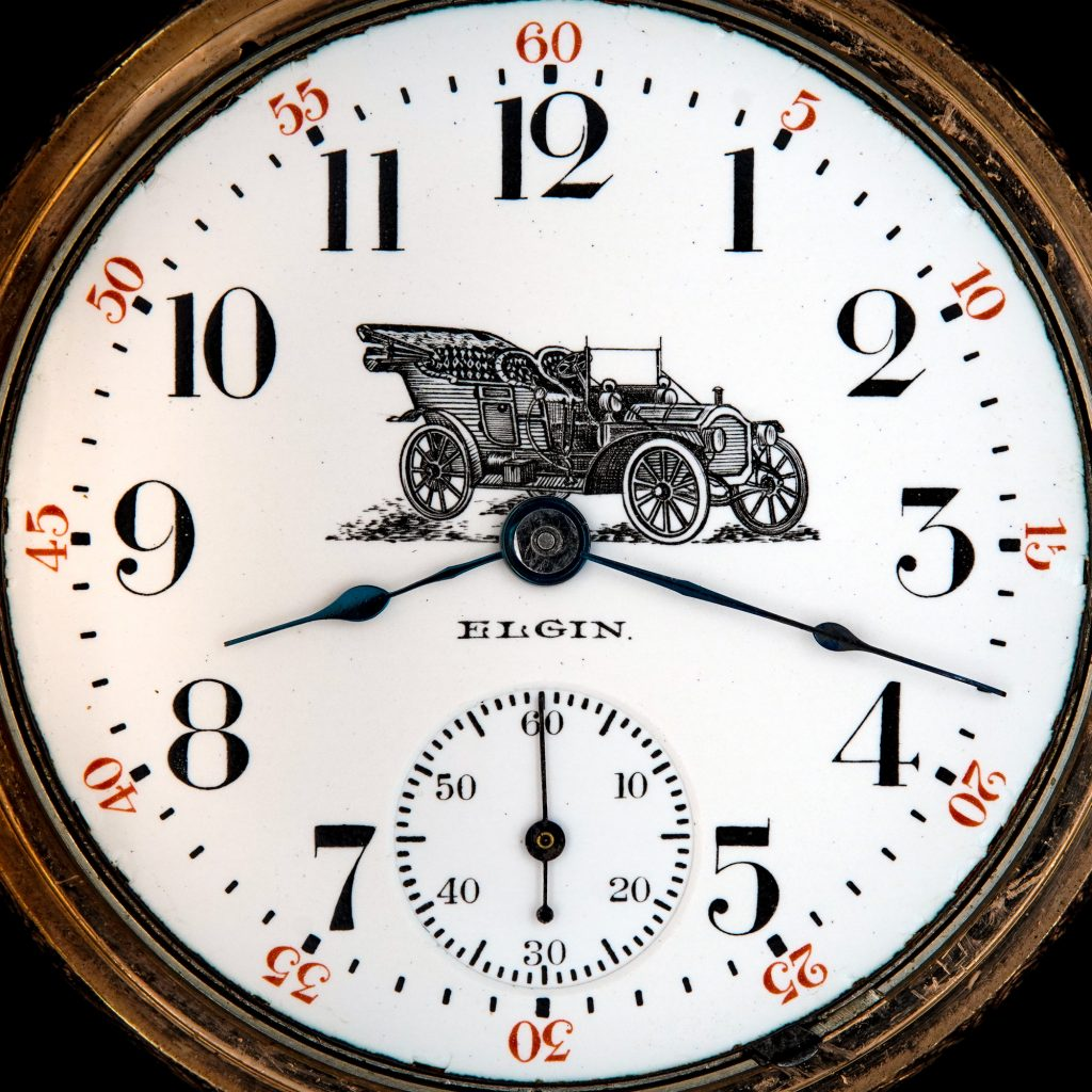 Enamel Watch Dial Featuring 1909 Packard Model 18 Touring Car, Fitted on an Elgin 18-Size Grade 207