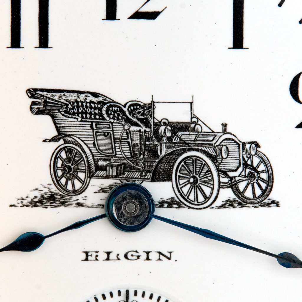 Detailed View, Enamel Watch Dial Featuring 1909 Packard Model 18 Touring Car, Fitted on an Elgin 18-Size Grade 207