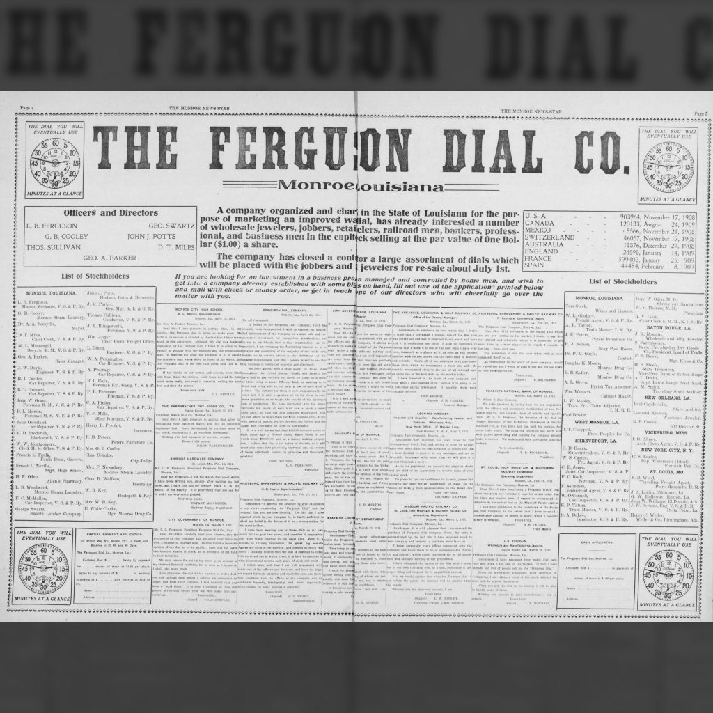 Advertisement Offering Stock in the Ferguson Dial Company, The Monroe News-Star, April 22, 1911