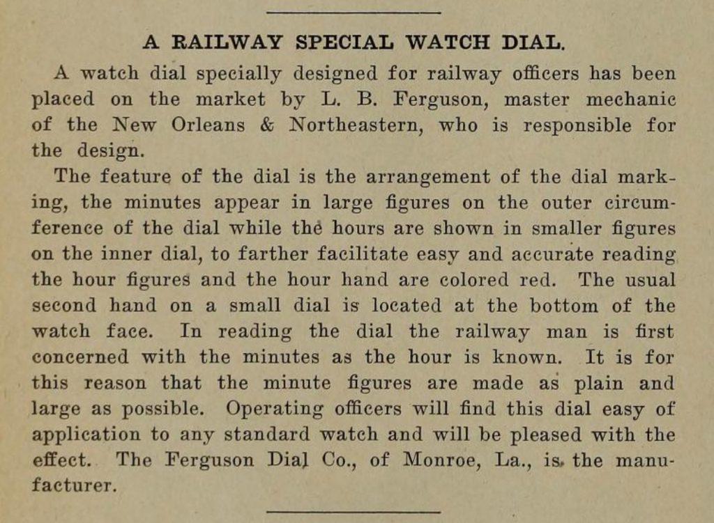 Description of the Ferguson Dial, Railway Master Mechanic, July 1913