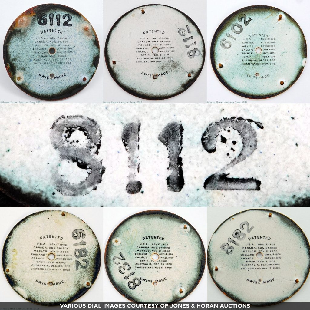 Backs of Ferguson Dials with Swiss Style Codes. [Various Images Courtesy of Jones & Horan Auctions]