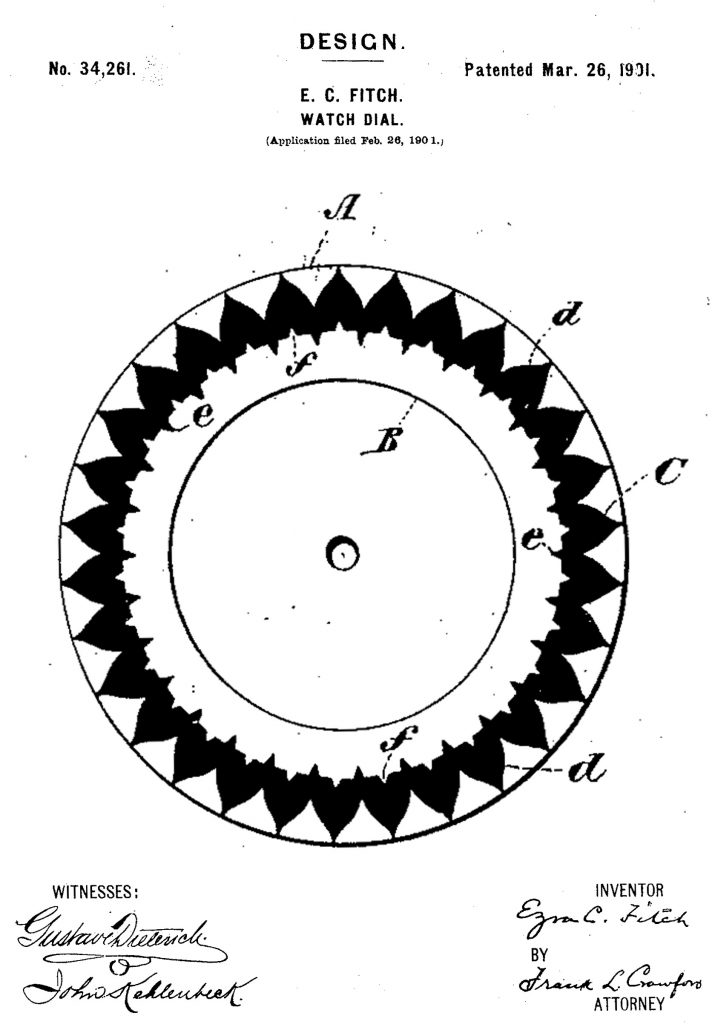 U.S. Patent #34,261, Issued to Ezra C. Fitch for his dial design, March 26, 1901