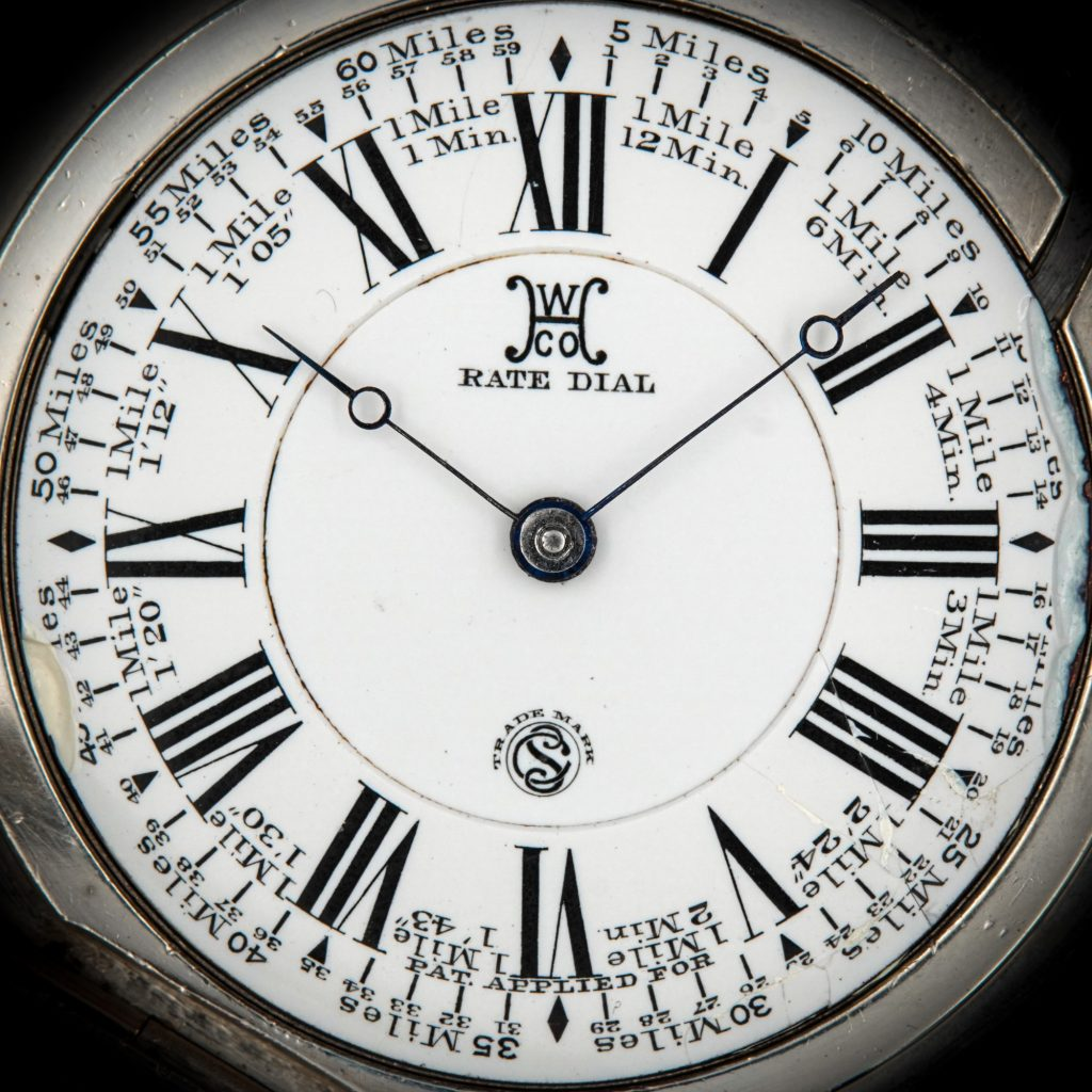 """The """"Rate Dial"""" Designed to Indicate Speed of Travel, c.1895, Fitted on Hampden Watch Co. Grade 81 Movement"""