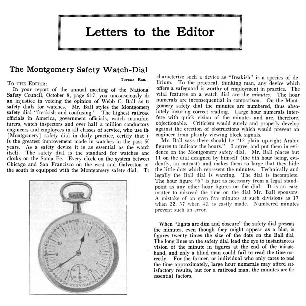 """Henry S. Montgomery's Letter of Defense Including an Image of the """"Type II"""" Montgomery Safety Dial, Published in the November 5, 1920 Issue of Railway Age."""