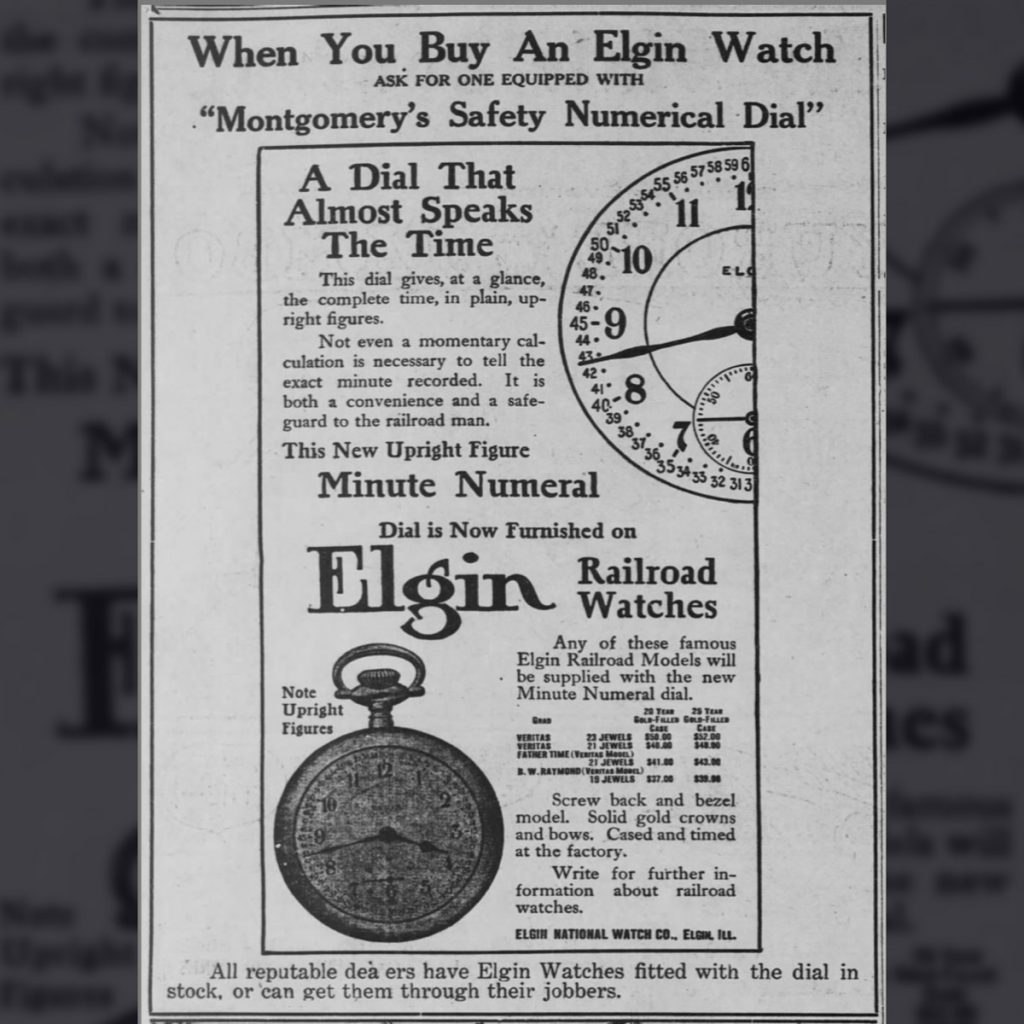 Elgin Montgomery Dial Advertisement Published in The Topeka State Journal, February 12, 1910.