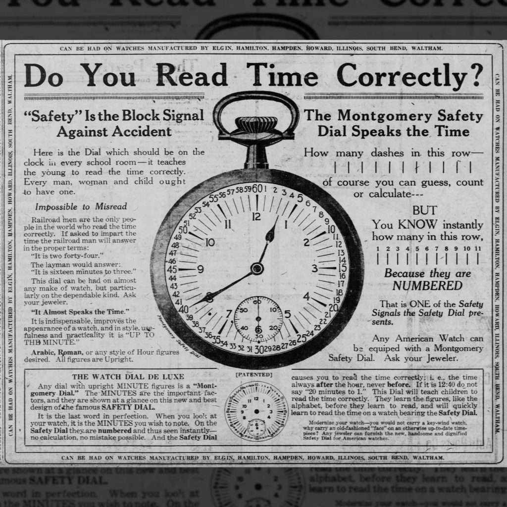 Advertisement for Montgomery's Second Safety Dial, Type II, 1920