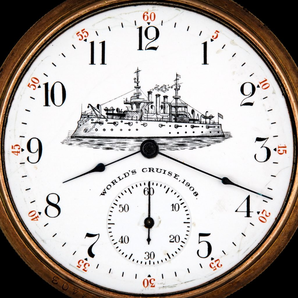 c.1909 Watch Dial Commemorating The 1908 World's Cruise, Depicting the USS Connecticut Battleship, Fitted on an Elgin Grade 291 Movement.