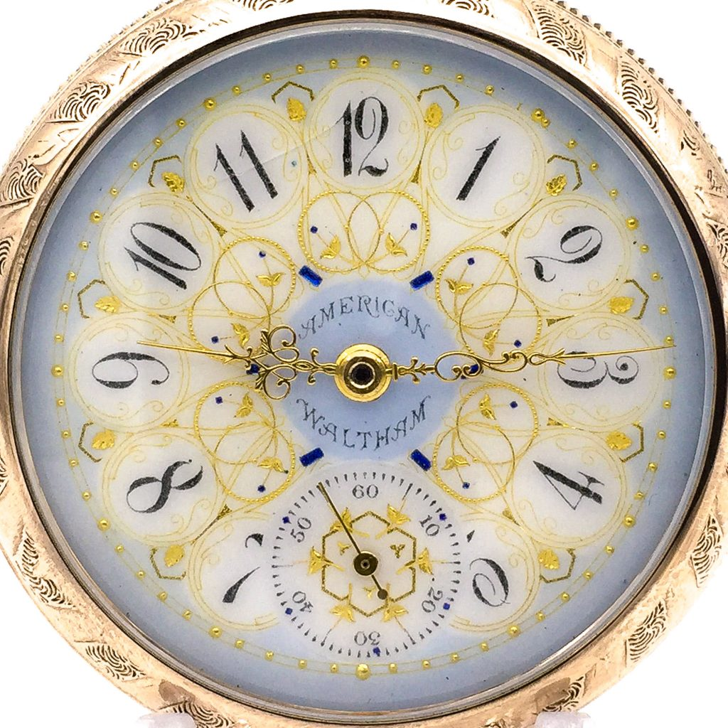 American Waltham Blue/Gold Fancy Dial (Unmarked, Considered to be an O'Hara Dial), c.1894.