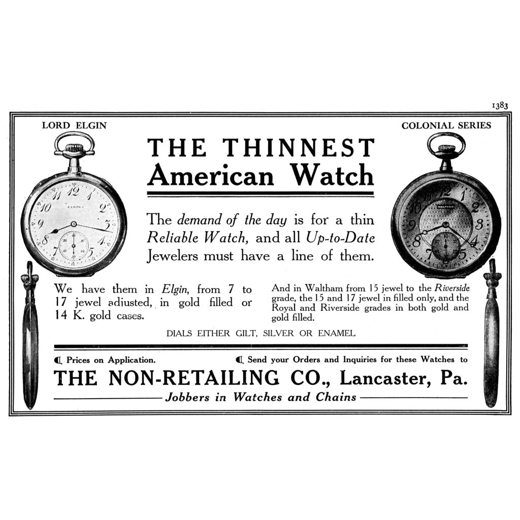 """""""The Thinnest American Watch"""" Advertisement by The Non-Retailing Company, Published in the September 1908 Issue of The Keystone"""