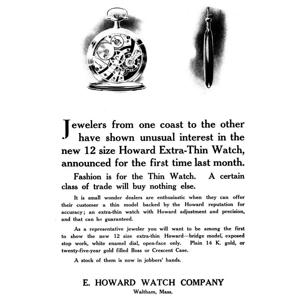 E. Howard Extra Thin Watch Advertisement, Published in the January 1908 Issue of The Keystone