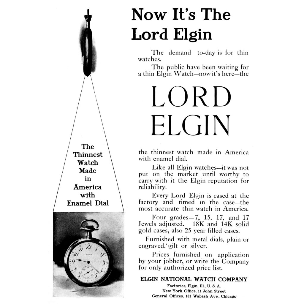 """Elgin """"Lord Elgin"""" Series Advertisement, Published in the June 1908 Issue of The Keystone"""
