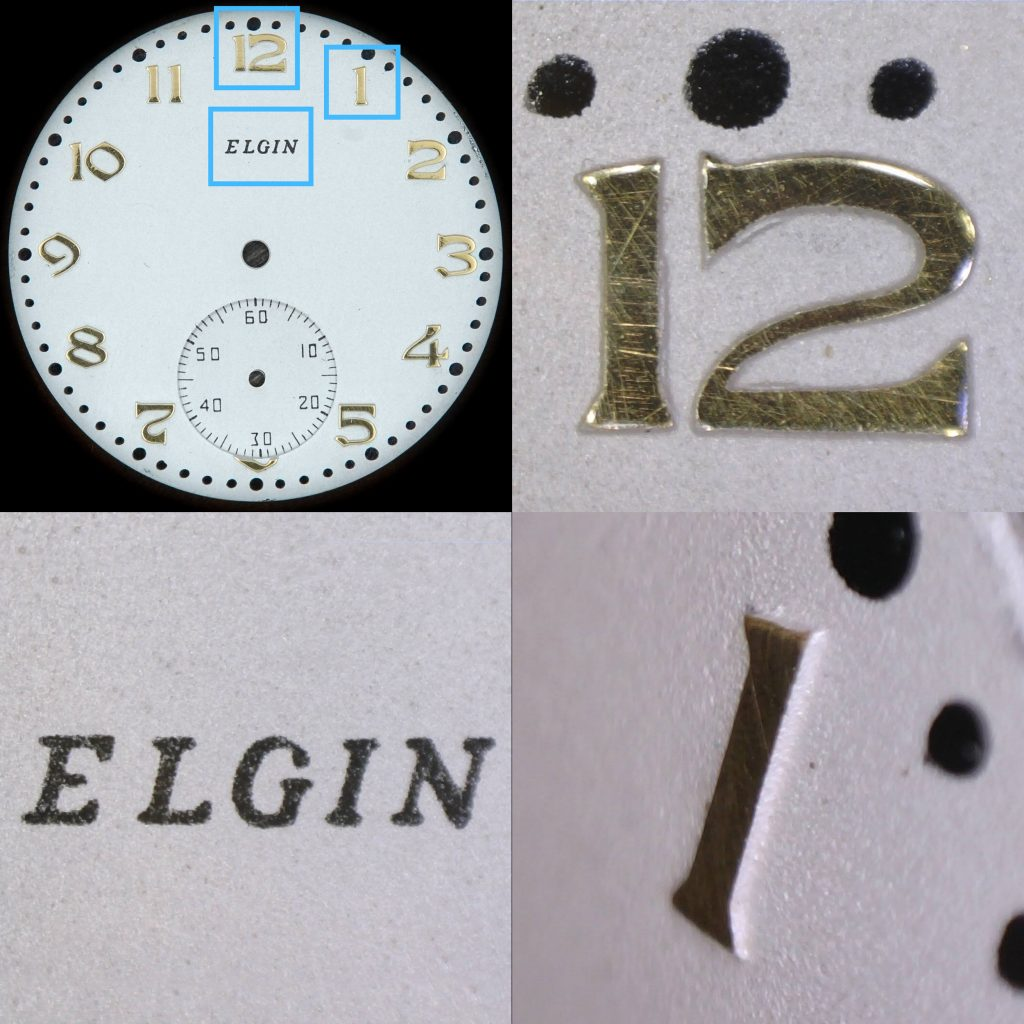 Closeup Detail of a 1935 Metal Dial Manufactured by the Elgin National Watch Company