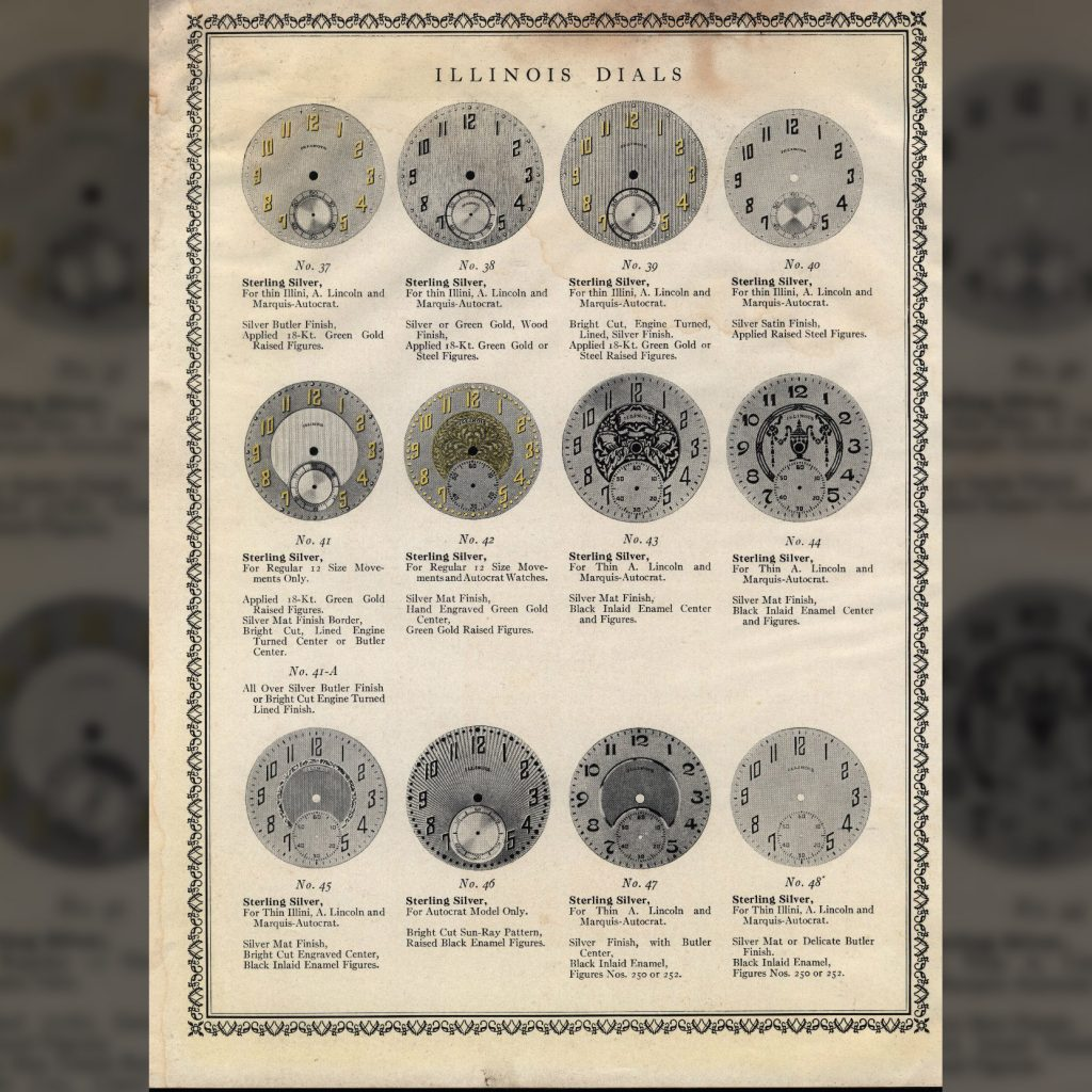 Excerpt from the Illinois Watch Company Dials Circular No. 102, Published May 1927