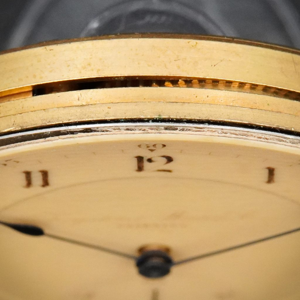 Edge of Celluloid Watch Dials from the Keystone Watch Company Showing Paper Substrate
