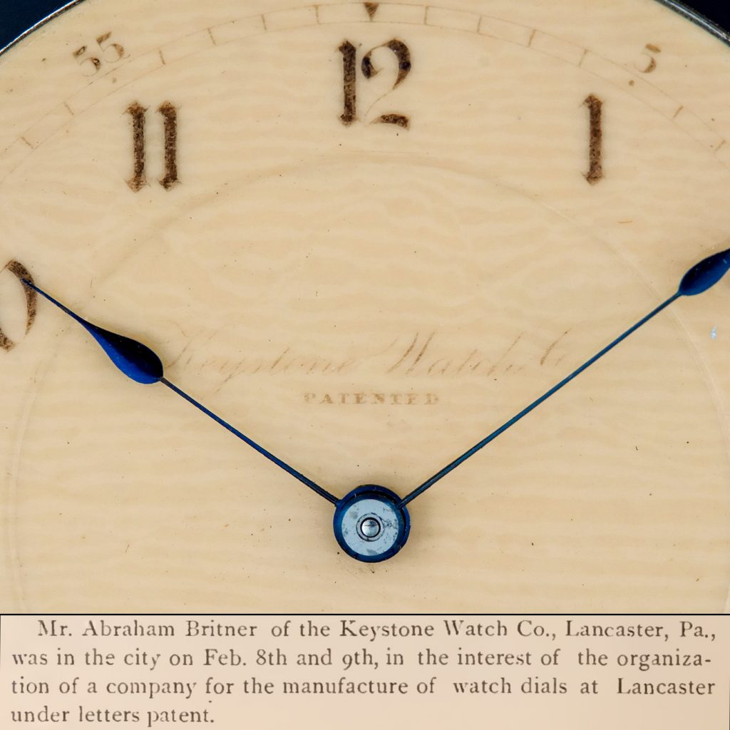 Patent Celluloid Watch Dial from the Keystone Watch Company with excerpt from the March 1888 issue of The Jewelers' Circular and Horological Review.