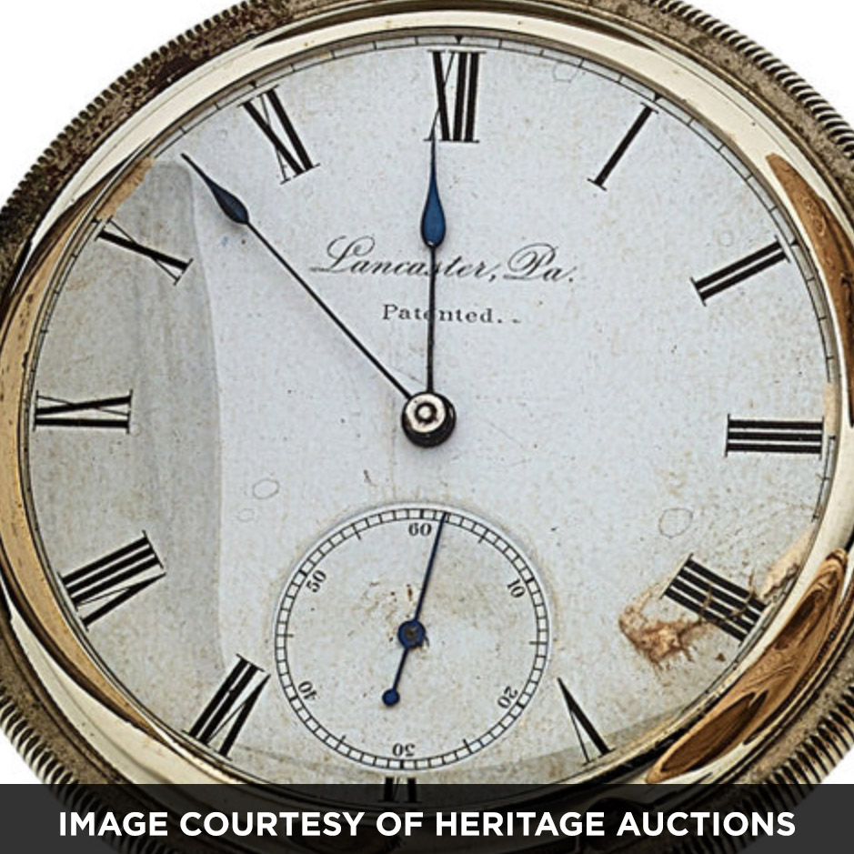 """Abraham Bitner's Patented Paper Watch Dial on a Lancaster Watch Company """"Comet"""" Movement [Courtesy of Heritage Auctions]"""