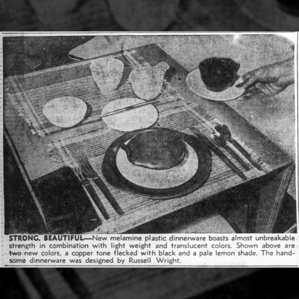 Newspaper Excerpt Featuring Melamine Dinnerware, The Evening Eagle (Wichita, Kansas), November 11, 1953.