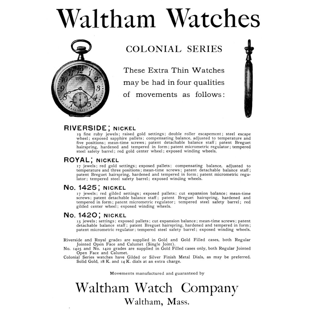 """Waltham """"Colonial Series"""" Advertisement, Published in the May 1908 Issue of The Keystone"""