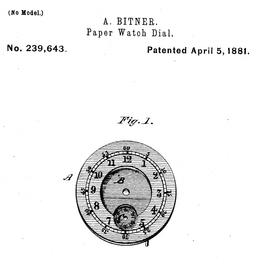 Patent Documentation for Abraham Bitner's Paper Watch Dial