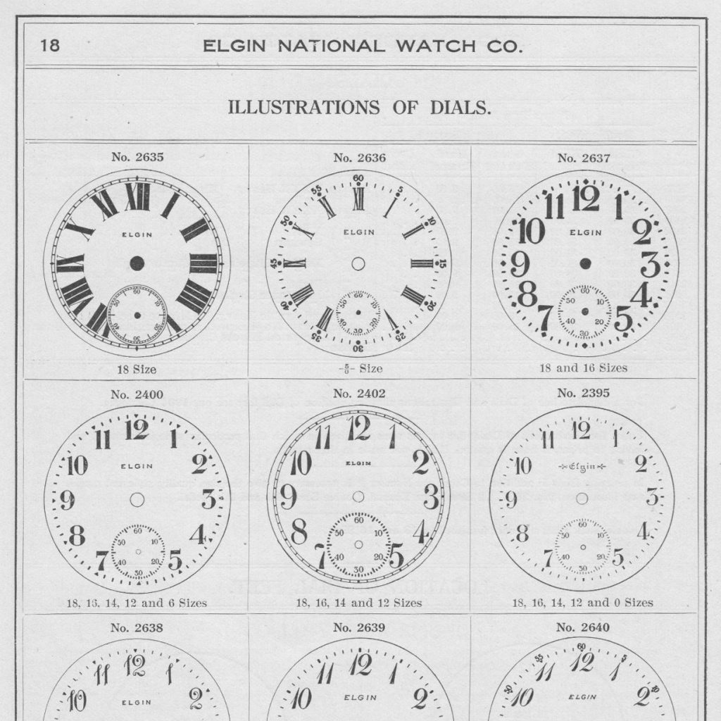 Elgin National Watch Company Dials (Showing Dial No. 2637), 1909 Material Catalog Supplement