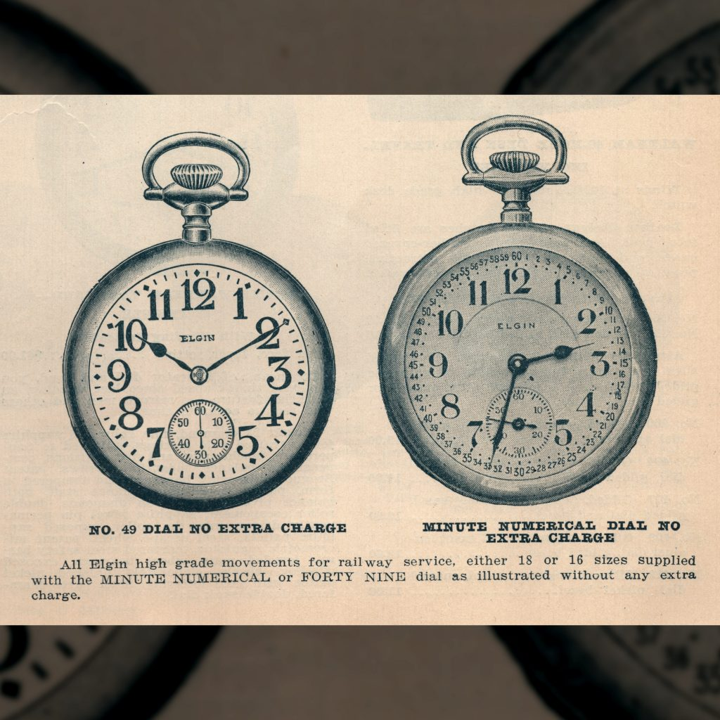 1915 A.C. Becken Catalog Excerpt Featuring Elgin's No. 49 and Minute Numerical Dials