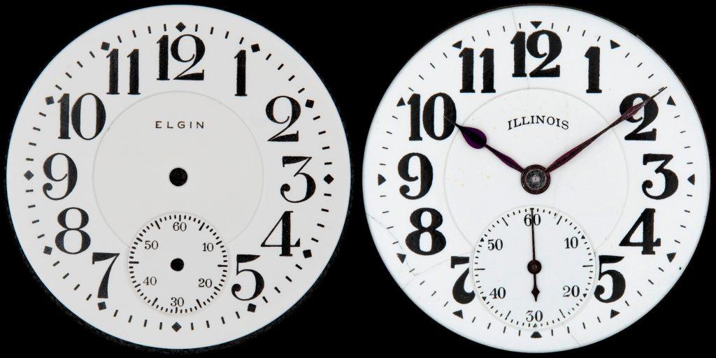 Elgin No. 49 Railroad Dial (Left) vs. Illinois No. 114 (Bunn Special) Dial (Right)