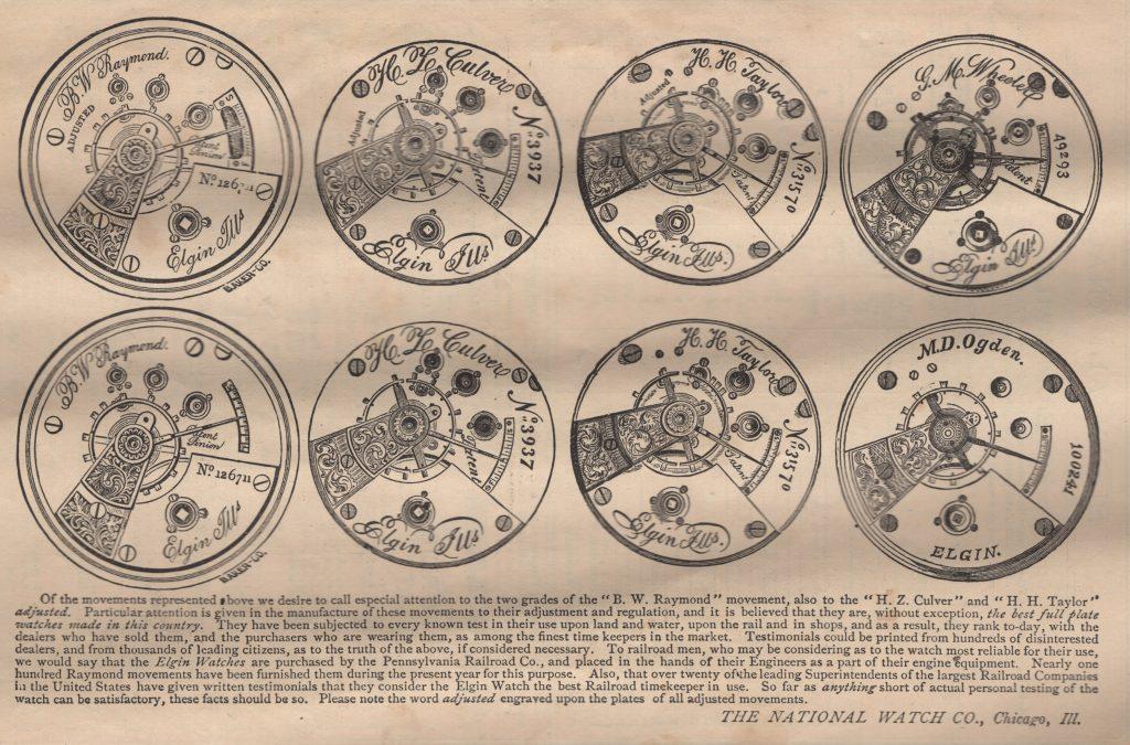 Movements Cuts from the 1873 Elgin Almanac Advertising the B.W. Raymond Movement