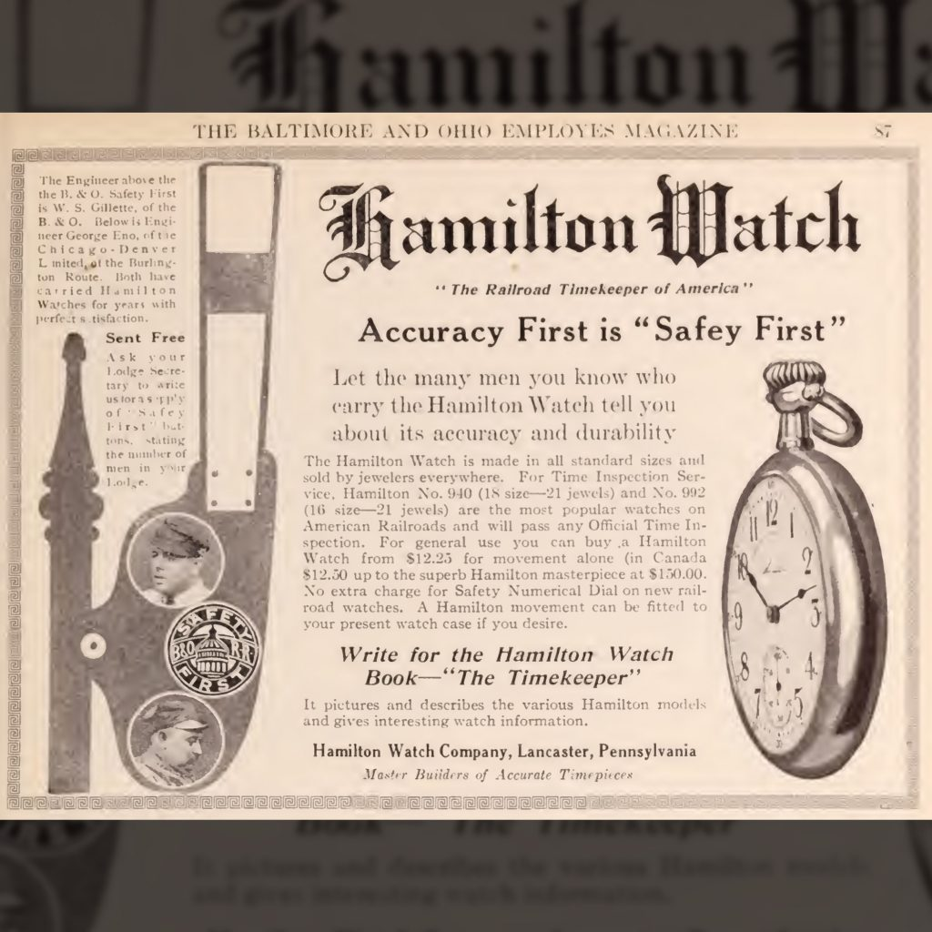 """""""Accuracy First is Safety First"""" Advertisement Featuring the No. 106/436 Style Dial, Baltimore and Ohio Employees Magazine, November 1914."""