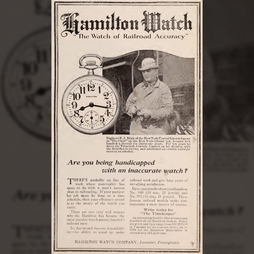 """""""Are You Being Handicapped with an Inaccurate Watch?"""" Advertisement Featuring the No. 527/576 Style Dial, Baltimore and Ohio Employees Magazine, June 1920."""
