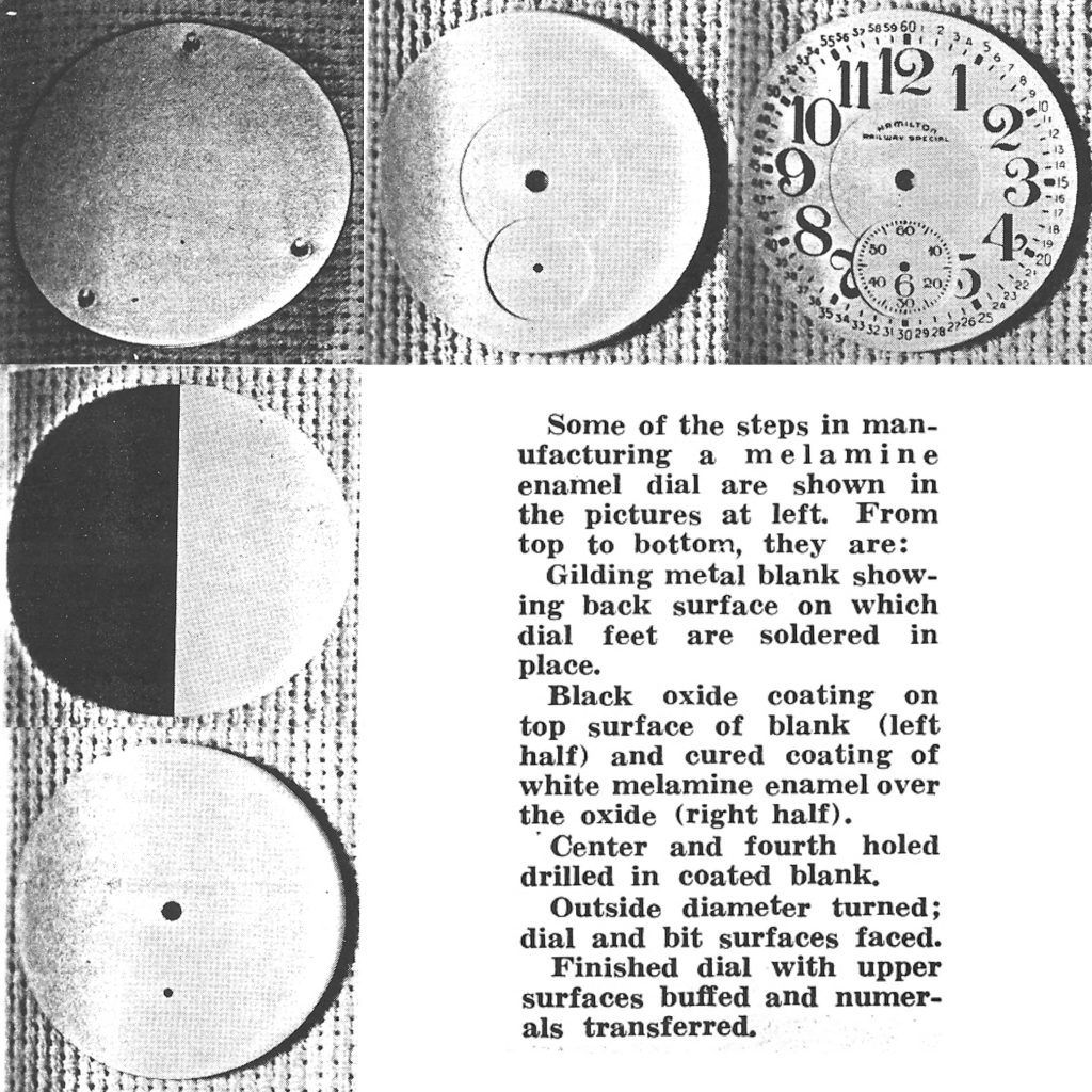 """Melamine Dials Throughout Production, Excerpt from """"Research Provides New Materials For R.R. Type Dials,"""" Timely Topics, July 1953."""