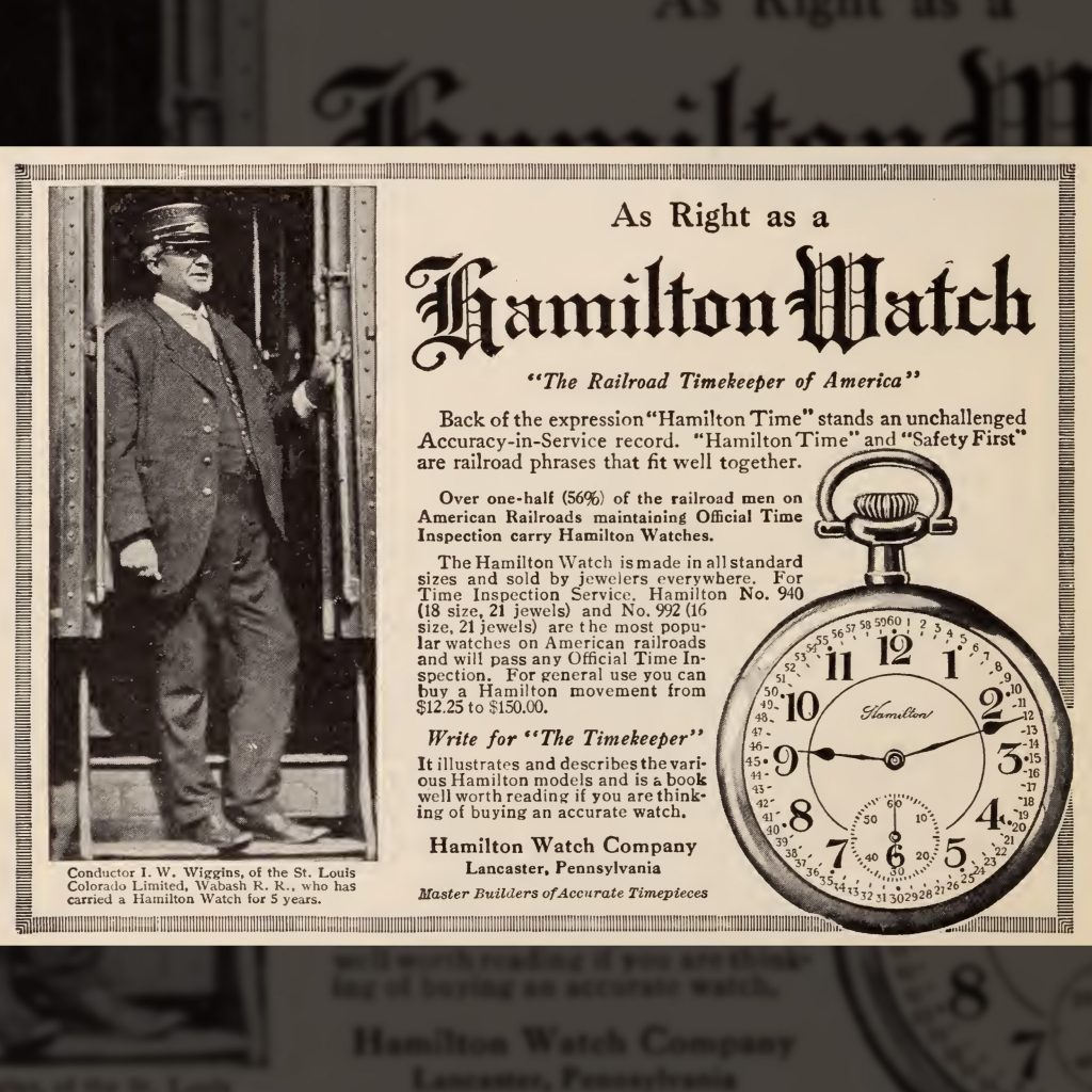 """""""The Railroad Timekeeper of America"""" Advertisement Featuring the No. 258 Montgomery Dial, Baltimore and Ohio Employees Magazine, October 1913."""