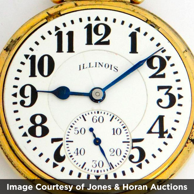 """Illinois Watch Company """"Arrows Out"""" Bunn Special Dial (Image courtesy of Jones & Horan Auctions)"""
