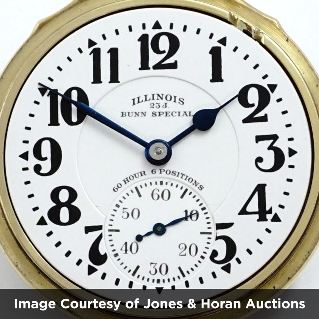 """Illinois Watch Company """"Flying J"""" Bunn Special Dial (Image courtesy of Jones & Horan Auctions)"""