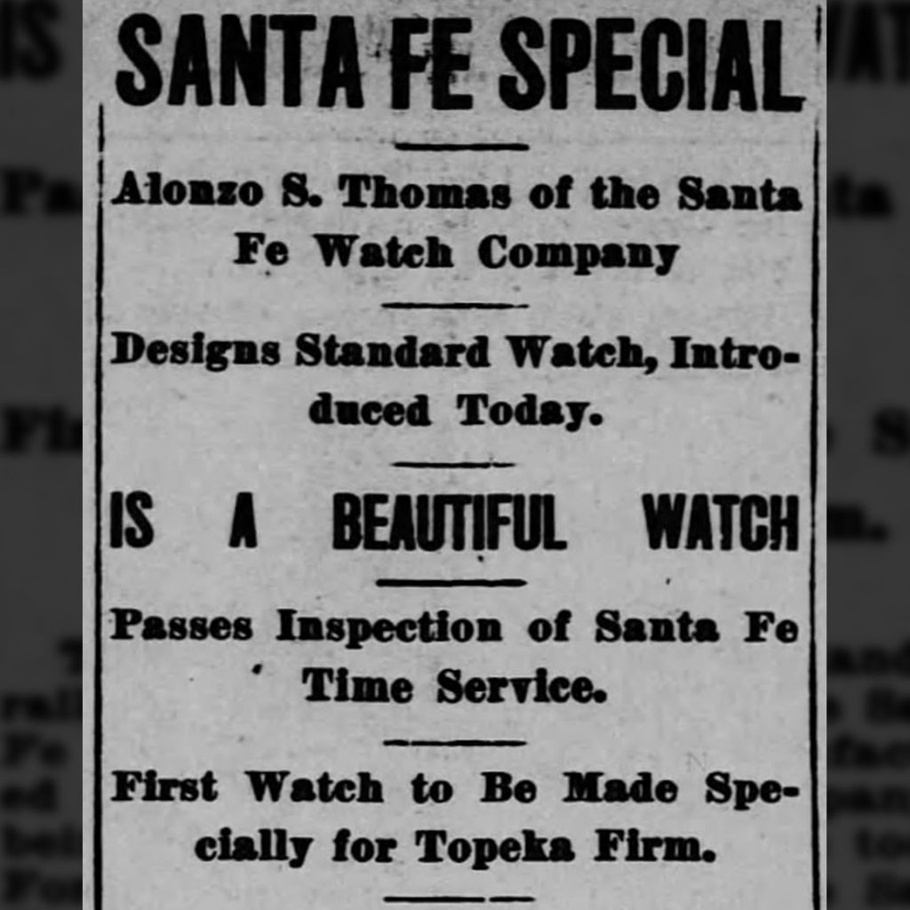 Introduction of the Santa Fe Special Watch published in The Topeka State Journal, November 5, 1913.