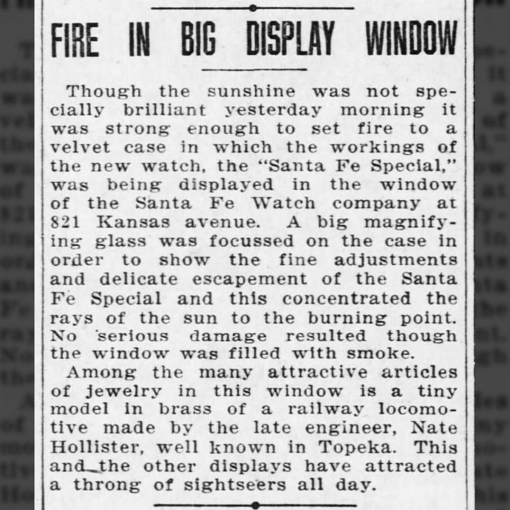"""""""Fire in Big Display Window,"""" The Topeka Daily Capital, November 7, 1913."""