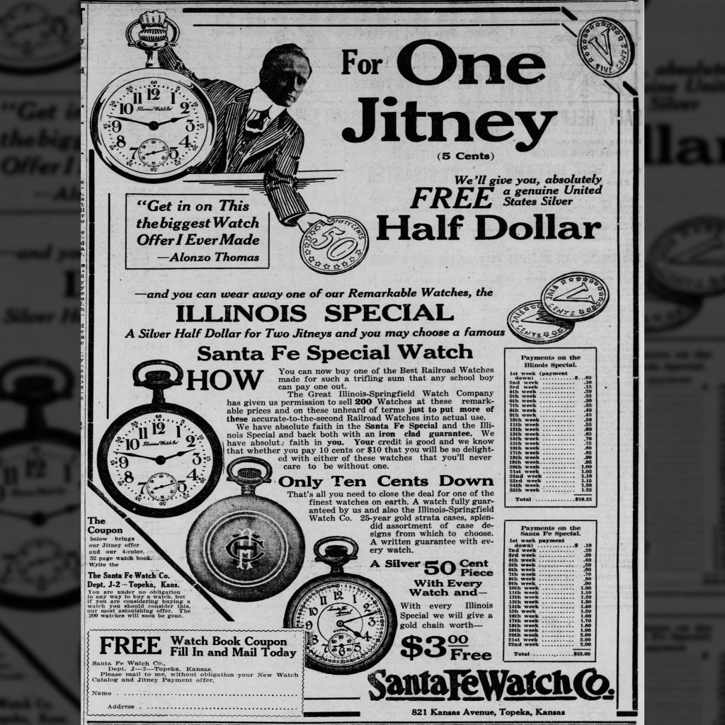 Pictured: Advertisement for the Santa Fe Special and Illinois Special Watches published in The Topeka State Journal, May 7, 1915.