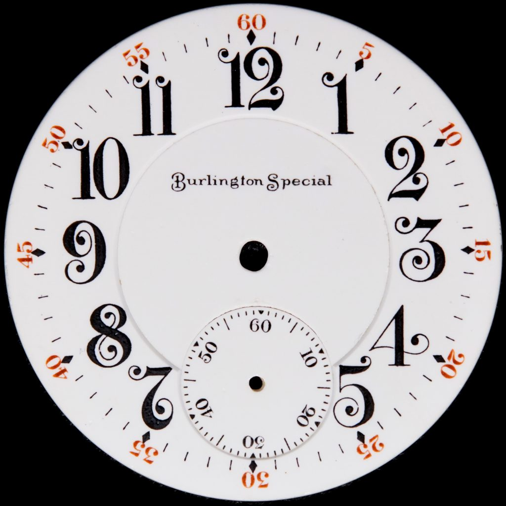 Burlington Special Standard Dial with Whimsical Curly Hour Figures, c.1908