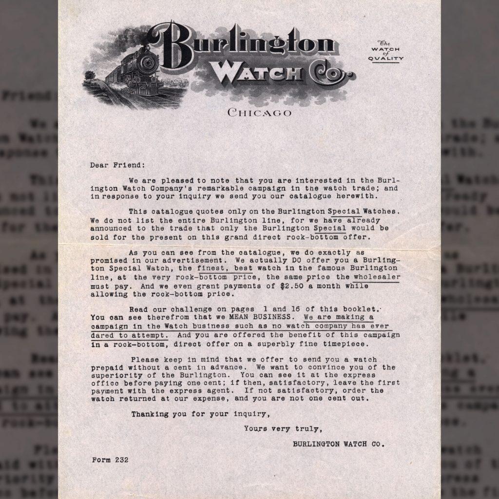 Burlington Watch Sales Letter, Enclosed within c.1911 Burlington Watch Company.