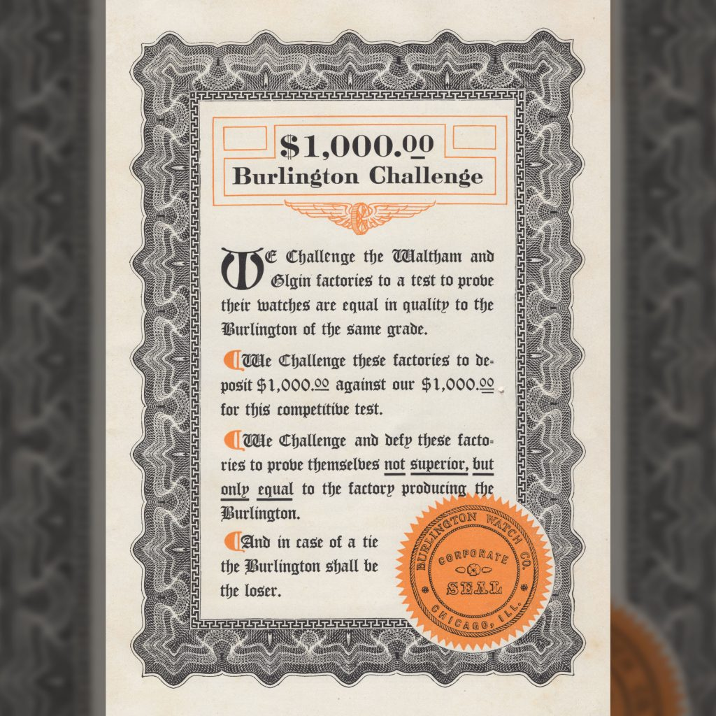 """$1,000 Burlington Challenge"" Burlington Watch Company Catalog, c.1911."