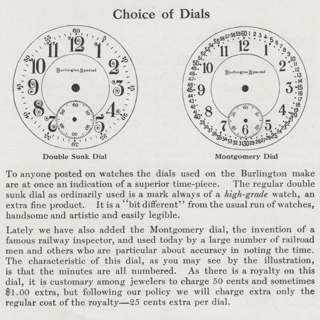 "Burlington Special ""Choice of Dials"" Burlington Watch Company Catalog, c.1911."