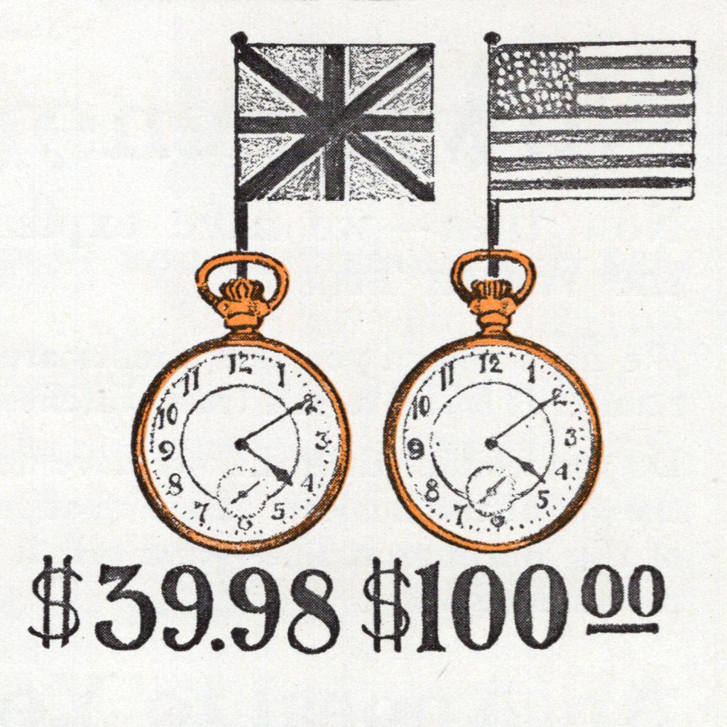 """Cheaper to Re-Import Watches,"" Burlington Watch Company Catalog, c.1911."