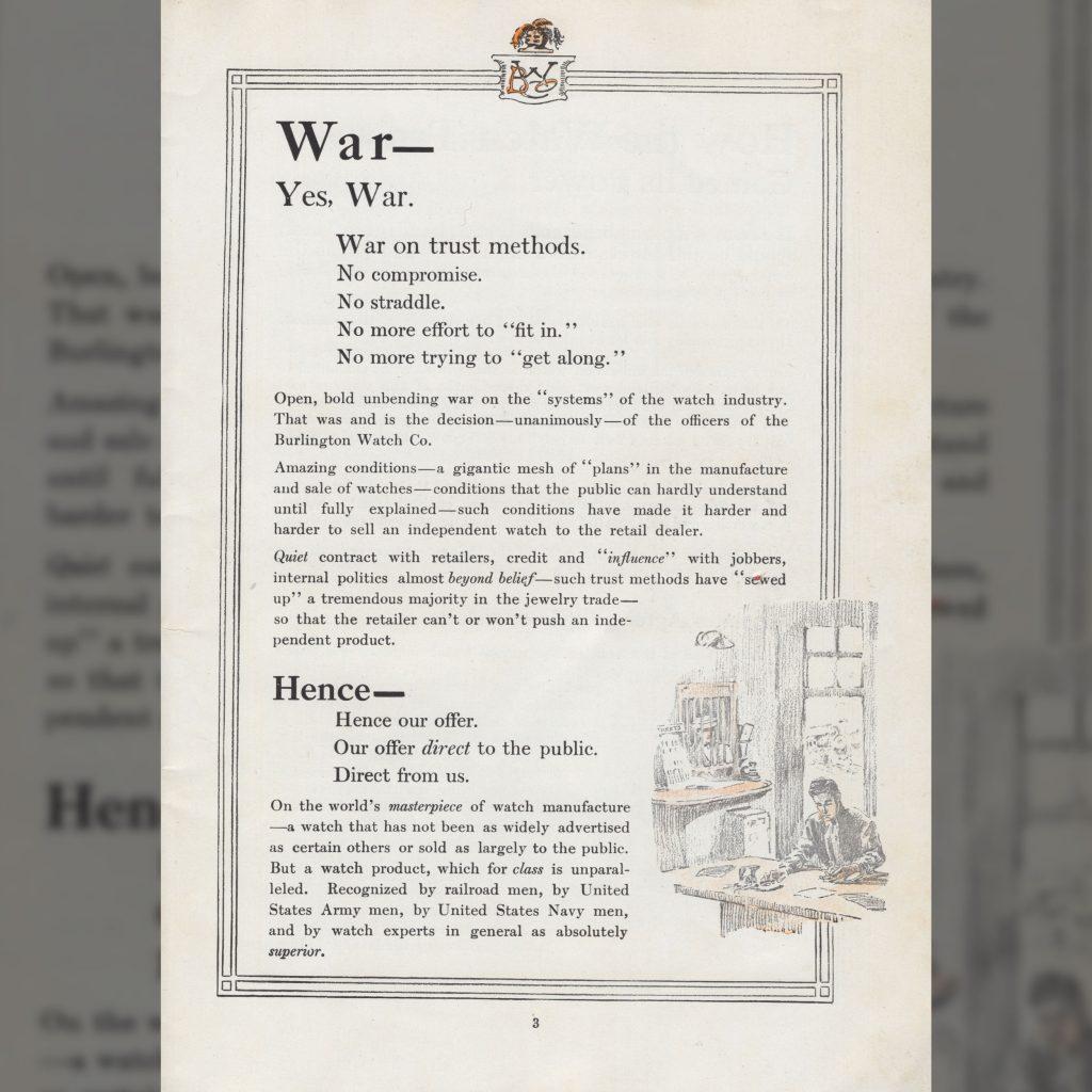 """War On Trust Methods,"" Burlington Watch Company Catalog, c.1911."