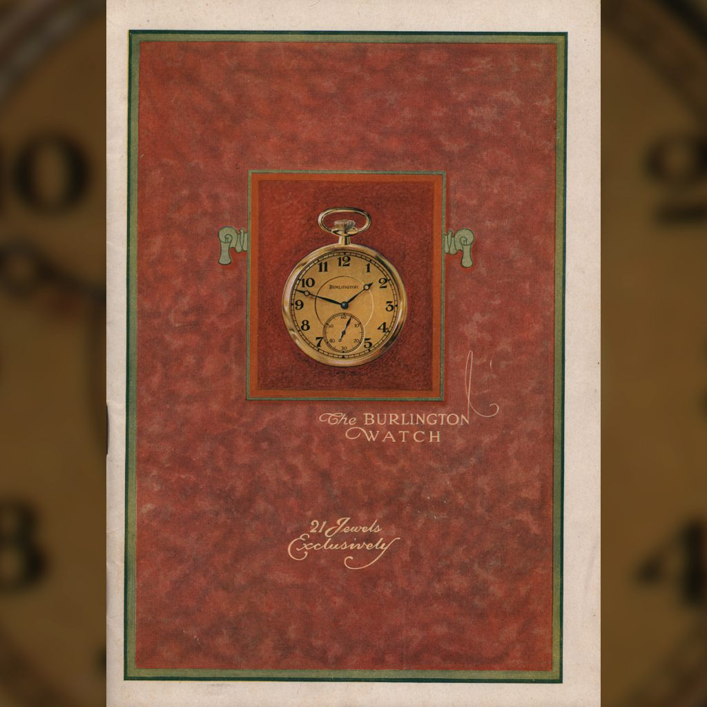 """Cover with """"21 Jewels Exclusively,"""" c.1923 Burlington Watch Company Catalog."""